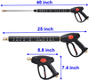 High Pressure Washer Gun with Long Handle, M22 15mm or M22 14mm Fitting, 5 Nozzle Tips, 40 Inch, 4000 PSI
